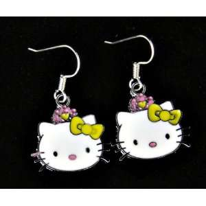 Hello Kitty yellow bow w/ pink accents dangling charm