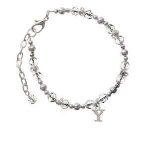 com Small Silver Initial   Y Clear Czech Glass Beaded Charm Bracelet