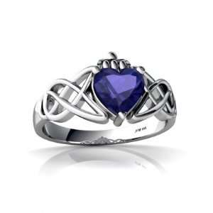Gold Heart Created Sapphire Celtic Claddagh Knot Ring Size 8 Jewelry