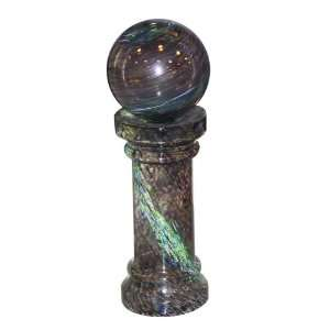 Glowing Gazing Globe Brown On Glass Stand Patio, Lawn & Garden