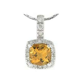 14k White Gold Pendant with Round Cut Diamonds and Citrine Jewelry