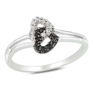 White Gold 1/10 CT TDW Black and White Diamond Heart Ring (G H, I2 I3