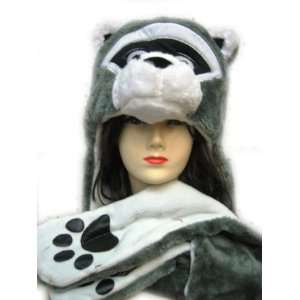 Animal Hat   Raccoon Hat with Ear Flaps and Hand Pockets Toys & Games