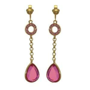 Connoiseur Gold Pink Crystal Drop Clip On Earrings Jewelry