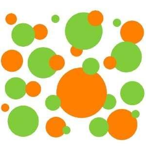 Set of 130 Lime Green and Orange Polka Dots Circles Wall Graphic Vinyl