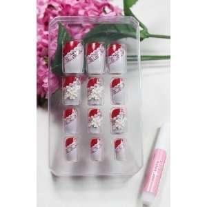 Nail Art 12pcs red false nail with white flowers fake fingernails nail