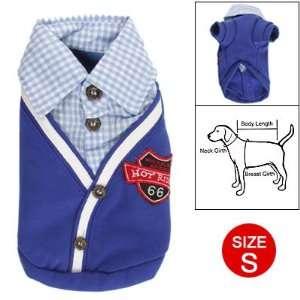 Como Dog Puppy Checked Collar Fake Two Piece Blue Coat S