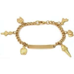 ID Charm Bracelet Gold Plated 6 1/2 Jewelry