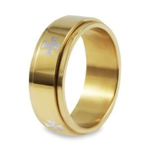 Gold Plated Stainless Steel Cross Ring   Size 7.0 West