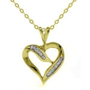 14k Yellow Gold, Baguette Diamond Heart Pendant with Chain