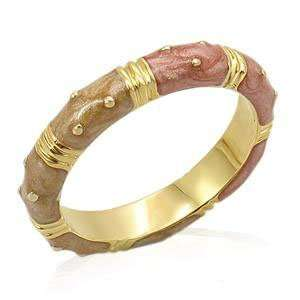 FASHION JEWELRY   Tan & Bronze Gold Plated Enamel Ring Band Jewelry