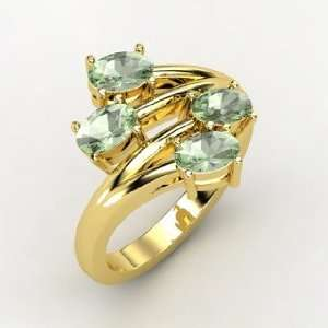 Four Together Ring, 14K Yellow Gold Ring with Green Amethyst Jewelry