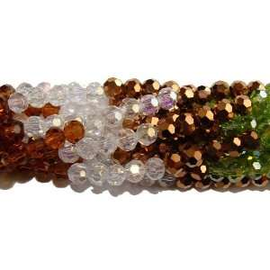 T230 1 Glass faceted round beads (4mm, 15, gold, green