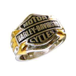 Sterling Silver Harley Davidson Mens Logo Ring: Jewelry: