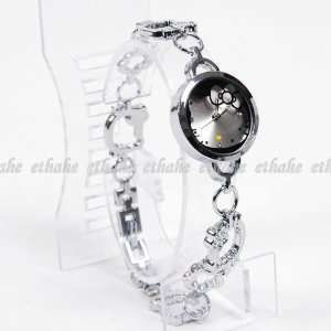 Hello Kitty Girls Round Watch Wristwatch Silver