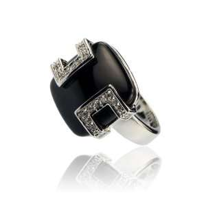 Inspired Black Onyx Crystal Fashion Jewelry Ring Size 6 Jewelry