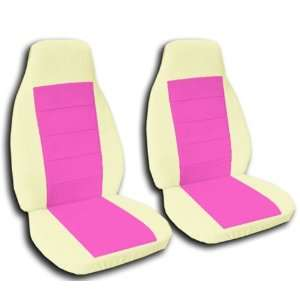 2 Cream and Hot Pink seat covers for a 2005 to 2009