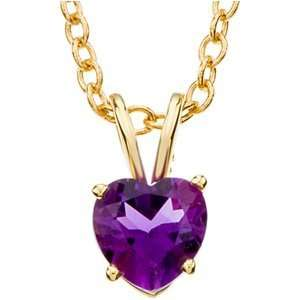 Ame 18 Genuine Amethyst Heart Necklace In 14K Yellow Gold Jewelry