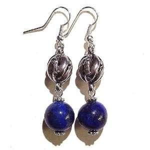 The Black Cat Jewellery Store Lapis Lazuli & Tibetan Silver Earrings