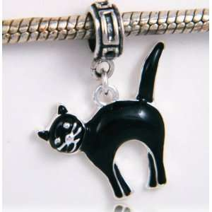 Halloween Black Cat Silver Plated Dangle Charm Everything