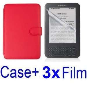 NEEWER® RED Protective PU Leather Case Cover For Kindle 3