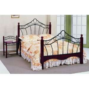 Queen Size Black Finish Metal Wood Bed Headboard and
