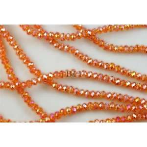 Chinese Crystal Glass Beads Faceted Rondelle 4mm Orange AB