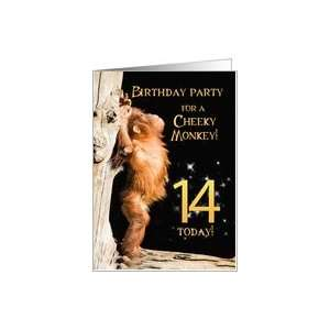 A 14th Birthday party Invitation card for a Cheeky Monkey