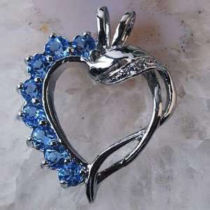 and Light Blue Crystal Open Heart Pendant and Silver Necklace [CHRM17