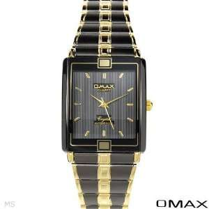 Omax Quartz WaterProof Men Watches Two Tone Gold N Black