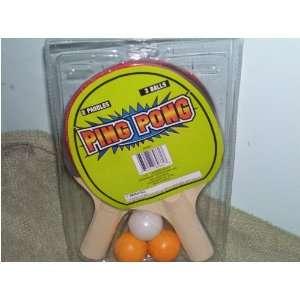 Ping Pong 2 Paddles 3 Balls Toys & Games