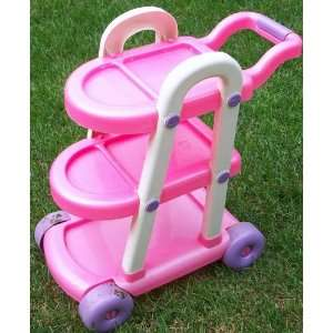 Pink 3 Level Girls Pretend Play Tea Cart Toy Toys & Games
