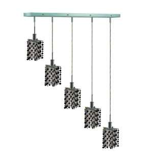 RC Mini 8 Inch High 5 Light Chandelier, Chrome Finish with Jet (Black