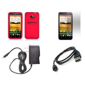 HTC EVO 4G LTE (Sprint) Premium Combo Pack   Red Silicone Skin