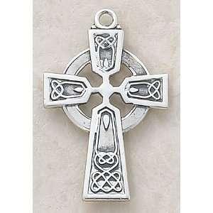 Silver Celtic Irish Cross Necklace Christian Faith Fashion Jewelry