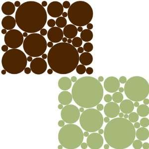 Green & Chocolate Brown Removable Polka Dots Wall Stickers Set Baby
