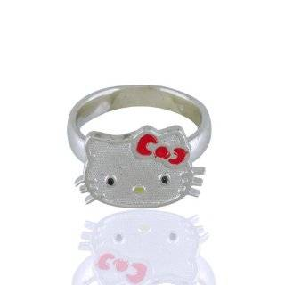 Hello Kitty Heart Enamel Sterling Silver Ring, Size 7 Jewelry