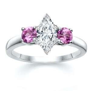 MARQUISE DIAMOND W ROUND PINK SAPPHIRE RING 18K Samuel David Jewelry