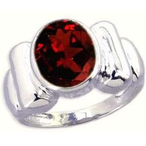 Sterling Silver Contoured Ring with Large Oval Genuine Gemstone Garnet