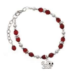 Soccerball Maroon Czech Glass Beaded Charm Bracelet [Jewelry] Jewelry