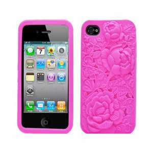 Hot Pink Flowers Embossed Silicone Gel Skin Soft Rubber Case Cover