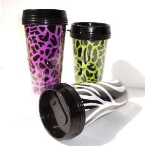 16oz Set of 3 Assorted Animal Print in 3 Colors Neon Green, Hot
