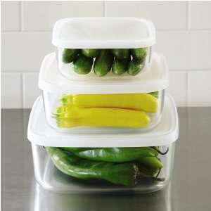 Frigoverre Square Glass Food Storage Containers with Lids, Set of 3