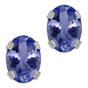Blue Tanzanite 14K White Gold 4 prong Stud Earrings 7x5mm Jewelry