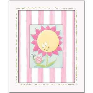 sunny flower wall art   pink stripe