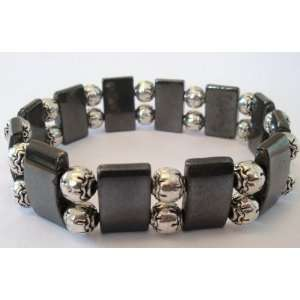 Hematite Gemstone Beads with Tibetan Silver Spacer Beads   Med/Lg Size