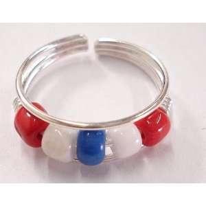 Red, White & Blue Beaded Toe Ring