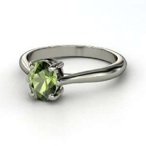 Solitaire Ring, Oval Green Tourmaline 14K White Gold Ring Jewelry