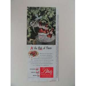Brew. Vintage 40s full page print ad. (berries/buckey of bottles