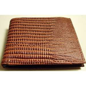 Lizard Skin Design Genuine Leather Bi Fold Mens Wallet Card Picture